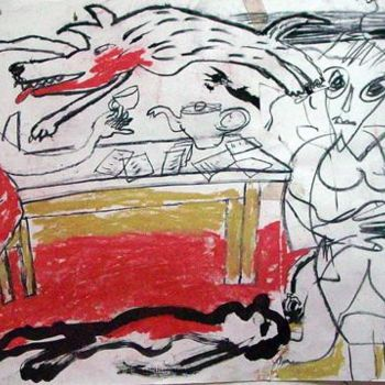 """Drawing titled """"Official for Tea"""" by Stephen West, Original Art, Other"""