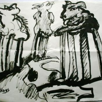 """Drawing titled """"3 tannery dogs"""" by Stephen West, Original Art,"""