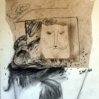 """Drawing titled """"Cat as Cat 5"""" by Stephen West, Original Art, Other"""