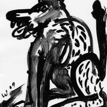 """Drawing titled """"Ink Dog 4"""" by Stephen West, Original Art, Other"""