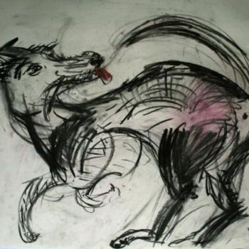 """Drawing titled """"Lively Dog"""" by Stephen West, Original Art, Other"""