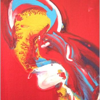 """Painting titled """"Red 06"""" by Delphine Bernard, Original Art,"""