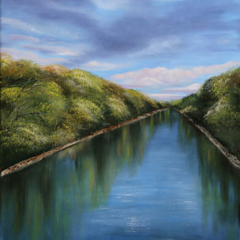 """Painting titled """"River Nitra - Slova…"""" by Tanja Frost, Original Art, Oil Mounted on Stretcher frame"""