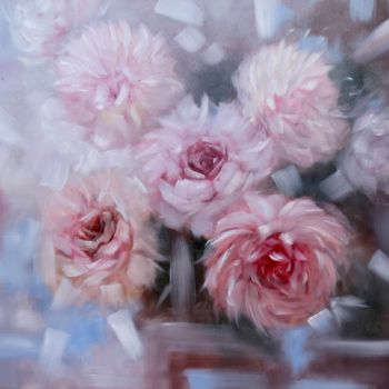 """Painting titled """"Air flowers - pioni…"""" by Tanja Frost, Original Art, Oil Mounted on Stretcher frame"""