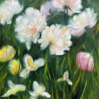 """Painting titled """"Peonies -original o…"""" by Tanja Frost, Original Art, Oil Mounted on Stretcher frame"""