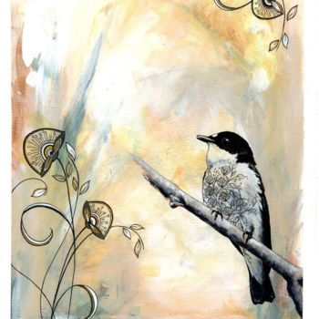 """Painting titled """"Calm Bird On a bran…"""" by Anthony Daoud, Original Art, Acrylic"""