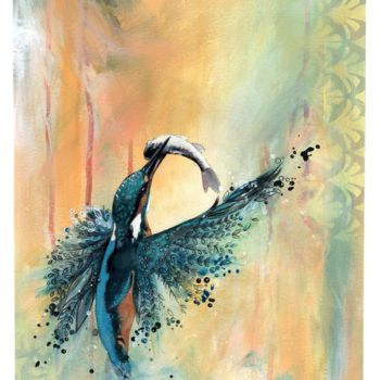 """Painting titled """"Kingfisher Bird"""" by Anthony Daoud, Original Art, Acrylic"""