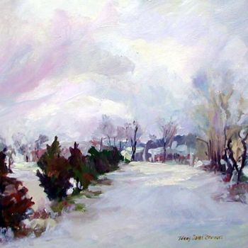 """Painting titled """"Backyard Snow"""" by Don Bourret, Original Art, Oil"""