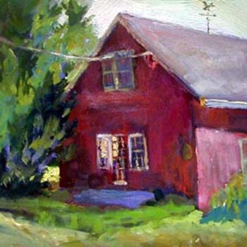 """Painting titled """"Red Barn"""" by Don Bourret, Original Art, Oil"""