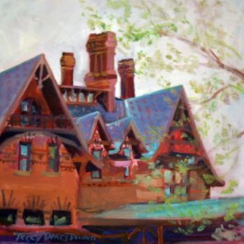 """Painting titled """"Mark Twain's Gables"""" by Don Bourret, Original Art,"""