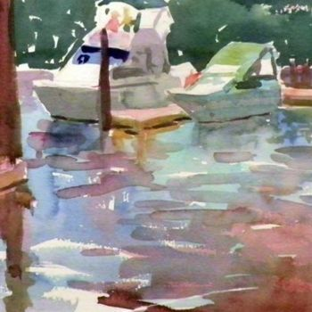 """Painting titled """"Two Motorboats"""" by Don Bourret, Original Art, Oil"""