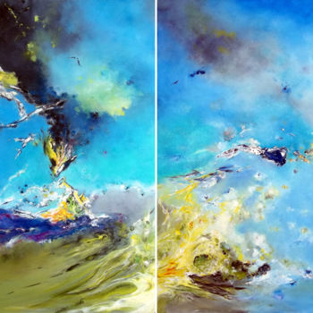 Painting, oil, abstract, artwork by Théophile Delaine
