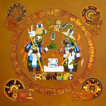 """Painting titled """"Priests from Tikal"""" by Tikal, Original Art, Ink"""