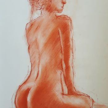 Feminine Drawing, pastel, figurative, artwork by Tito Fornasiero