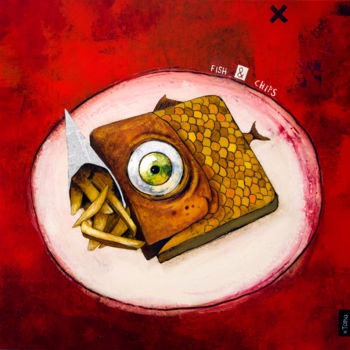 """Painting titled """"Fish & Chips"""" by Toma, Original Art, Acrylic"""