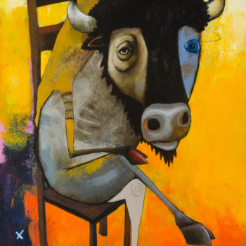 """Painting titled """"Sitting Bull"""" by Toma, Original Art, Acrylic"""