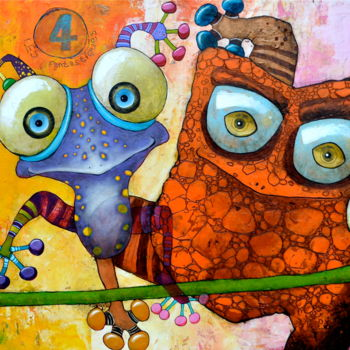 """Painting titled """"Les 4 Fantastiques"""" by Toma, Original Art, Acrylic"""