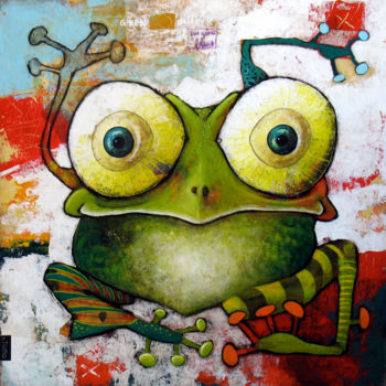 """Painting titled """"Grenouille aux Yeux…"""" by Toma, Original Art, Acrylic"""