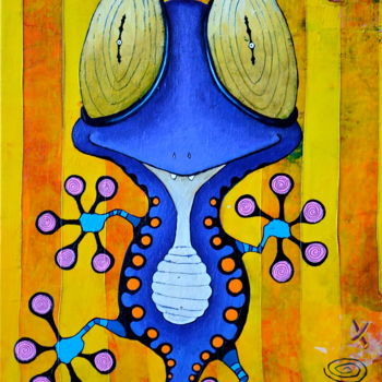 """Painting titled """"Momo le Gecko"""" by Toma, Original Art, Acrylic"""