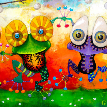 """Painting titled """"Garden Party"""" by Toma, Original Art, Acrylic"""