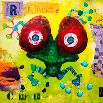 """Painting titled """"Rainette Camouflée"""" by Toma, Original Art, Acrylic"""