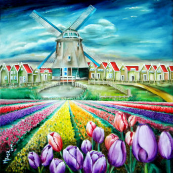 """Painting titled """"tulip-field-at-the-…"""" by Miriam Besa, Original Art, Oil"""