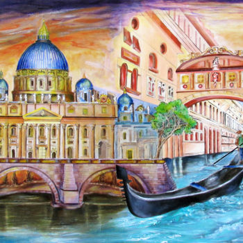 """Painting titled """"vatican-and-grand-c…"""" by Miriam Besa, Original Art, Oil"""