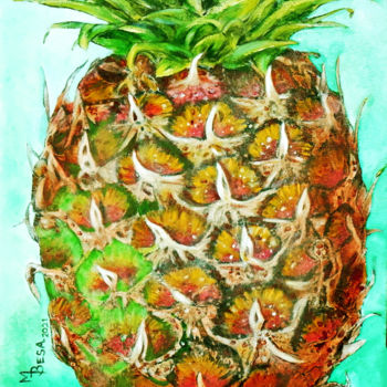 """Painting titled """"Pineapple for You"""" by Miriam Besa, Original Art, Oil"""