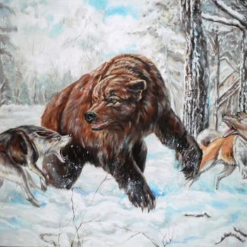 """Painting titled """"Bear  with Wolfs"""" by Katerina Evgenieva, Original Art, Oil"""