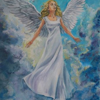 """Painting titled """"Angel in to the sky"""" by Katerina Evgenieva, Original Art,"""