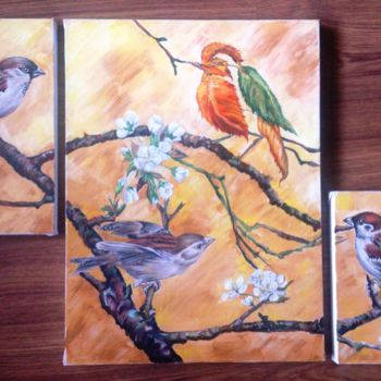 """Painting titled """"Tree Sparrows 2"""" by Katerina Evgenieva, Original Art, Other"""