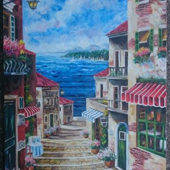 """Painting titled """"French-reviera"""" by Katerina Evgenieva, Original Art, Oil"""