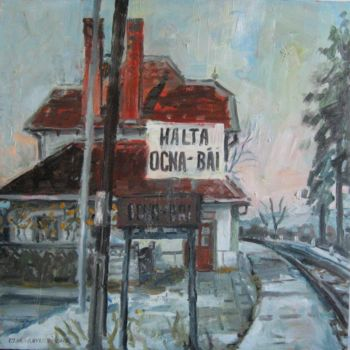 """Painting titled """"old railway station"""" by Vasyl, Original Art,"""