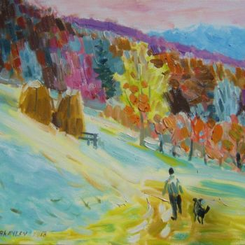 """Painting titled """"man with dog"""" by Vasyl, Original Art,"""