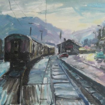 """Painting titled """"'MOUNTAIN STATION'…"""" by Vasyl, Original Art,"""