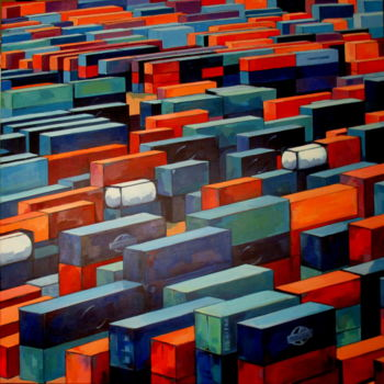 """Painting titled """"les containers"""" by Veronique Gaudin, Original Art, Acrylic"""