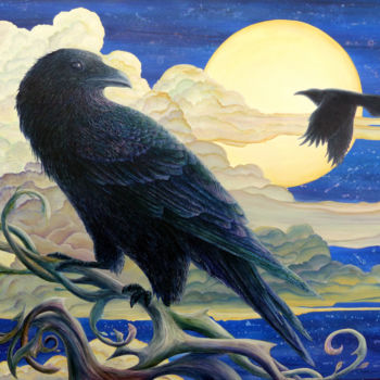 """Painting titled """"Raven's Moon: Refle…"""" by Victoria Armstrong, Original Art, Acrylic"""