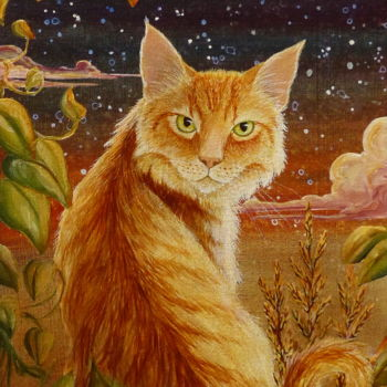 Cat Painting, acrylic, artwork by Victoria Armstrong