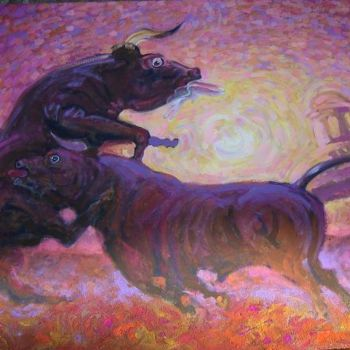 """Painting titled """"The Bulls Fantasy"""" by Viviano, Original Art, Oil"""