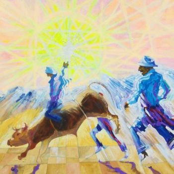 """Painting titled """"Bullrider in the sun"""" by Viviano, Original Art, Oil"""