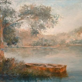 """Painting titled """"Landscape and boat"""" by William Dunn, Original Art, Oil"""