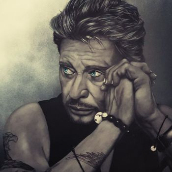 """Painting titled """"Portrait johnny hal…"""" by Wizart Grard, Original Art,"""