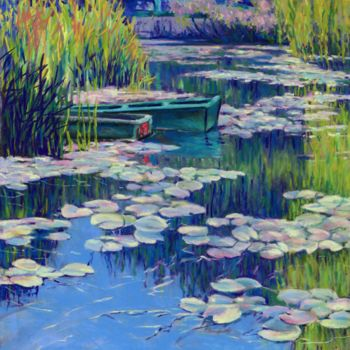 """Painting titled """"moored-boats-at-giv…"""" by Zoe Norman, Original Art, Pastel"""