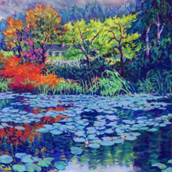 """Painting titled """"monets-water-garden…"""" by Zoe Norman, Original Art, Pastel"""