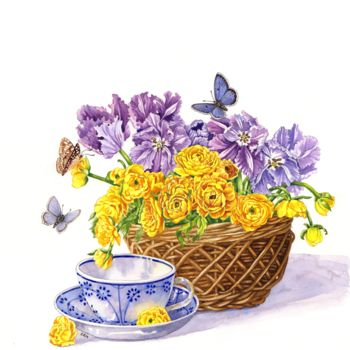 """Painting titled """"Tea Cup and Tulips"""" by Zoe Norman, Original Art, Watercolor"""