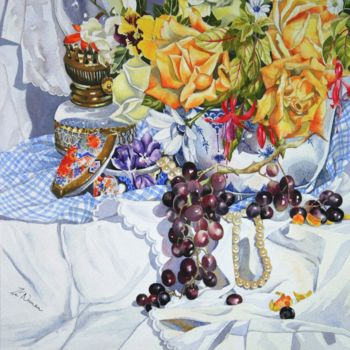 """Painting titled """"still-life-with-pea…"""" by Zoe Norman, Original Art, Gouache"""