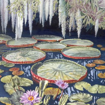 """Painting titled """"jungle-water-lilies…"""" by Zoe Norman, Original Art, Acrylic"""