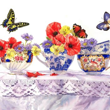 """Painting titled """"Poppies and Tea Cups"""" by Zoe Norman, Original Art, Watercolor"""