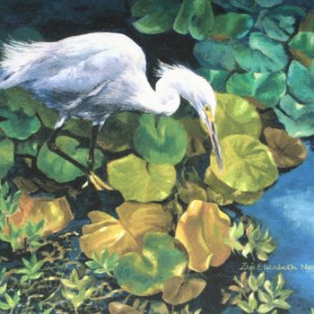 """Painting titled """"Snowy Egret"""" by Zoe Norman, Original Art, Oil"""