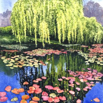 """Painting titled """"water lily pond"""" by Zoe Norman, Original Art, Watercolor"""